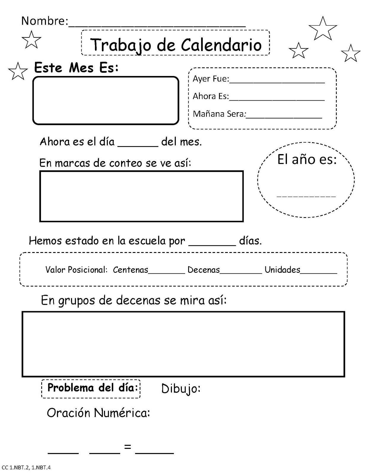 Fun Key Dual Language For First Grade Daily Calendar Work