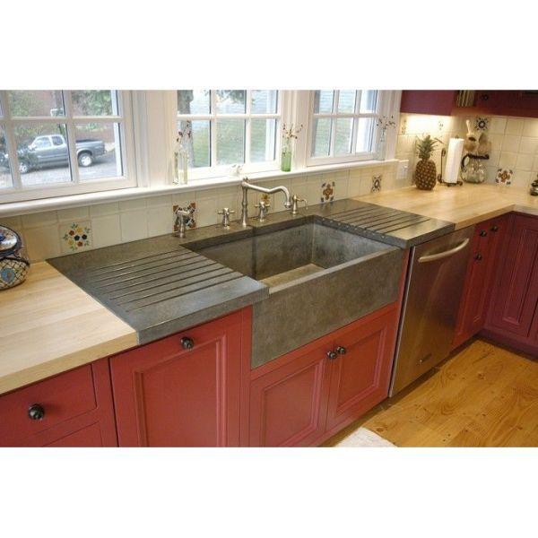 farmhouse kitchen sink with drainboard Betonas Apron Front Farm Sink & Drainboard (but it's