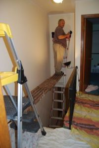 DIY scaffolding for painting tall walls in a stairwell ...