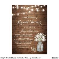 Baby's Breath Mason Jar Rustic Wood Bridal Shower Card ...