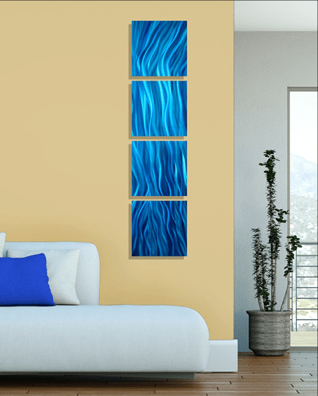 Modern abstract blue metal wall art painting home decor great waves by jon allen in also rh pinterest