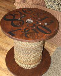 My version of a spool table! 7 dollar garage sale spool ...