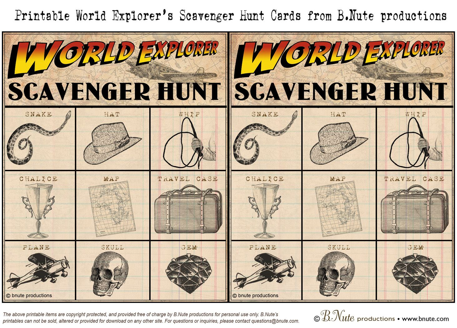 Bnute Productions Free Printable World Explorer Indiana
