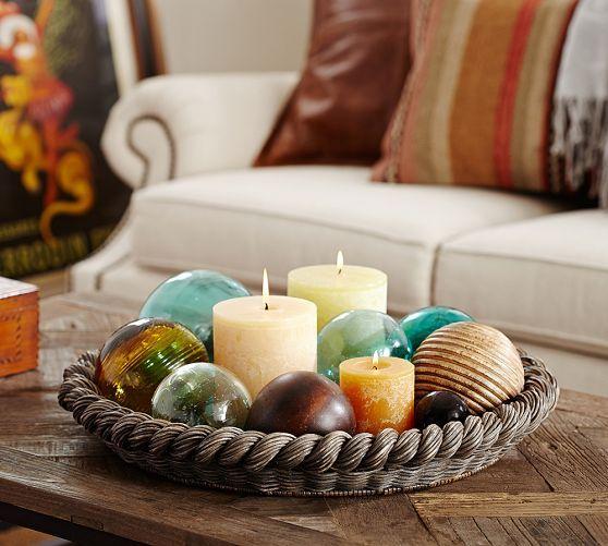 round coffee table tray decorating ideas Georgina Small Round Tray | Pottery Barn Idea: Use Mama's blue glass gazing balls and candles