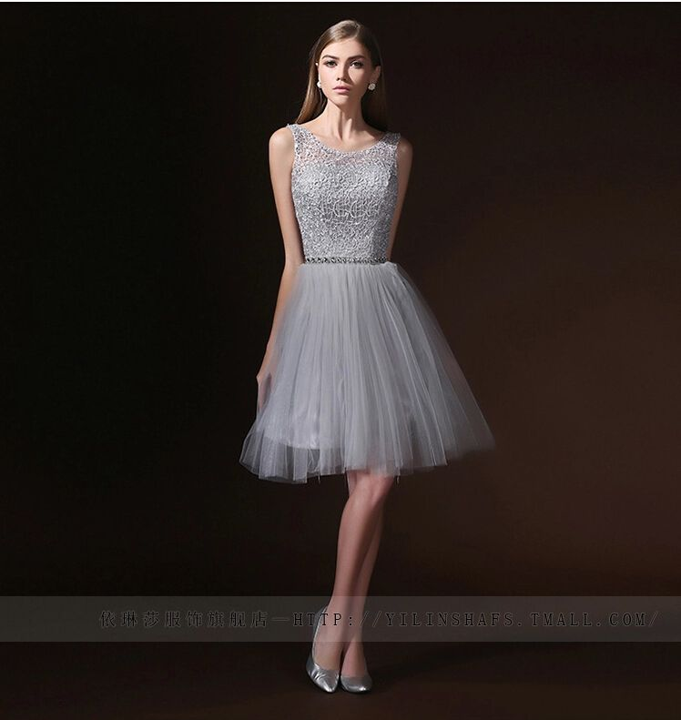 Silver Color Short Prom Dress with Beads Sleeveless Lace Tulle Short Evening Women Party Dress