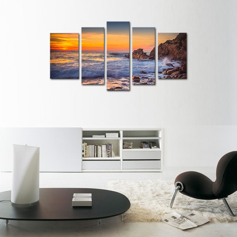 panels seascape canvas painting wall art sunset sea view print on with wooden also rh pinterest