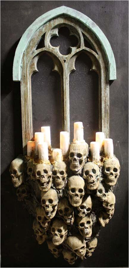 Creepy Skull Candle Holders Mirror Decor 2014 Halloween