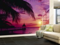 Purple Living Room Wall Murals | Purple ocean wallpaper ...