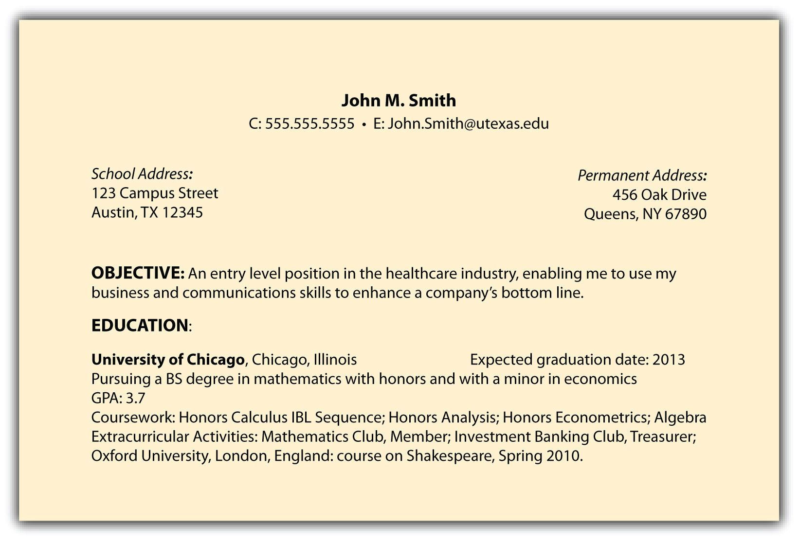 Resume Object Examples Examples Of Resumes