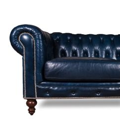 Navy Leather Chesterfield Sofa Back Of Cabinet Luxurious Blue At Decornyc