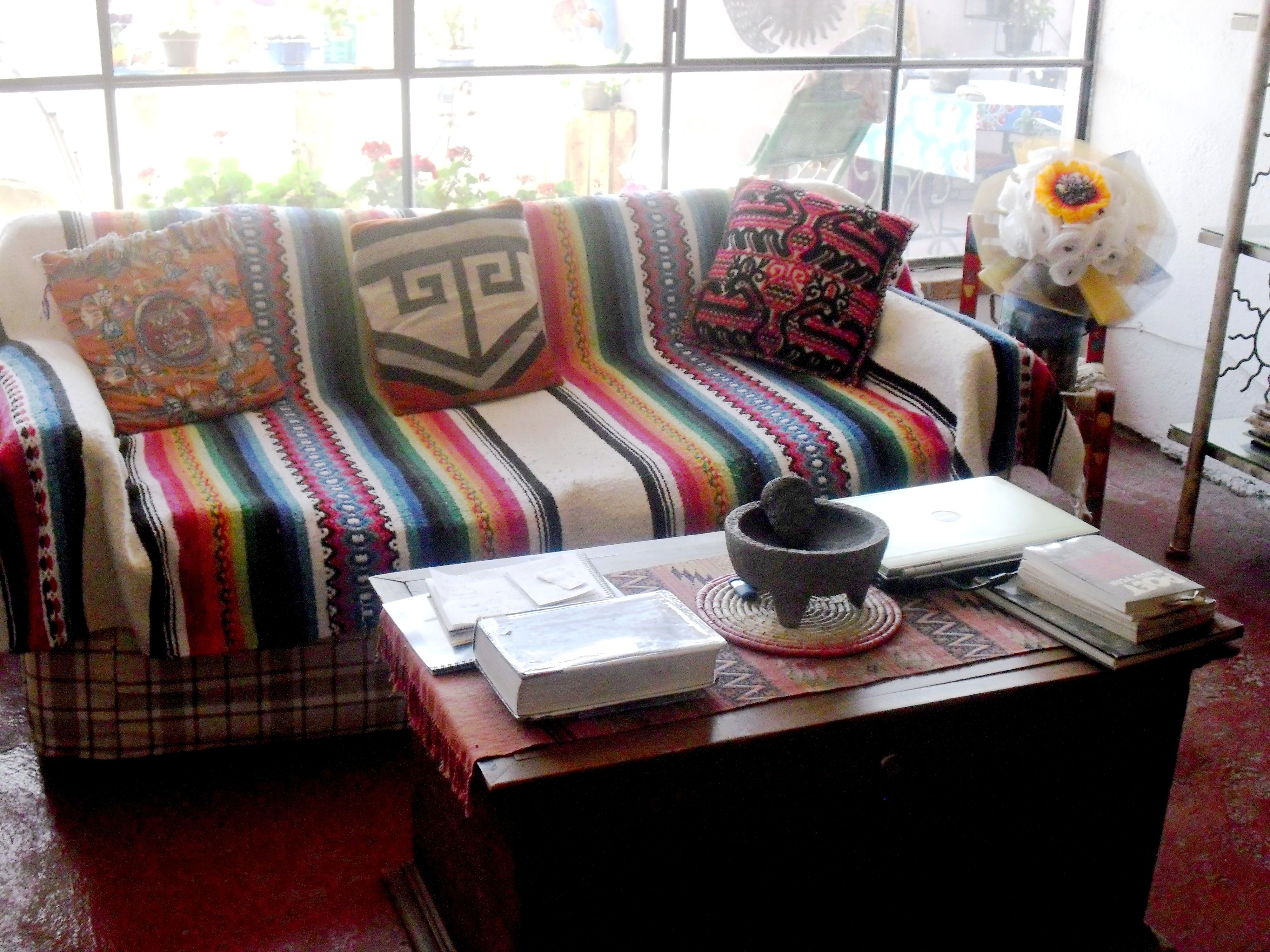 sofa cover blankets good sofas uk a flea market find mexican blanket as couch