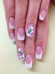 white french gel overlays with stroke flower nail art