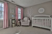 Pink and gray nursery - I like the light gray walls with ...