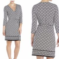 MAX STUDIO Printed Wrap Dress Dress Features: V-neck ...