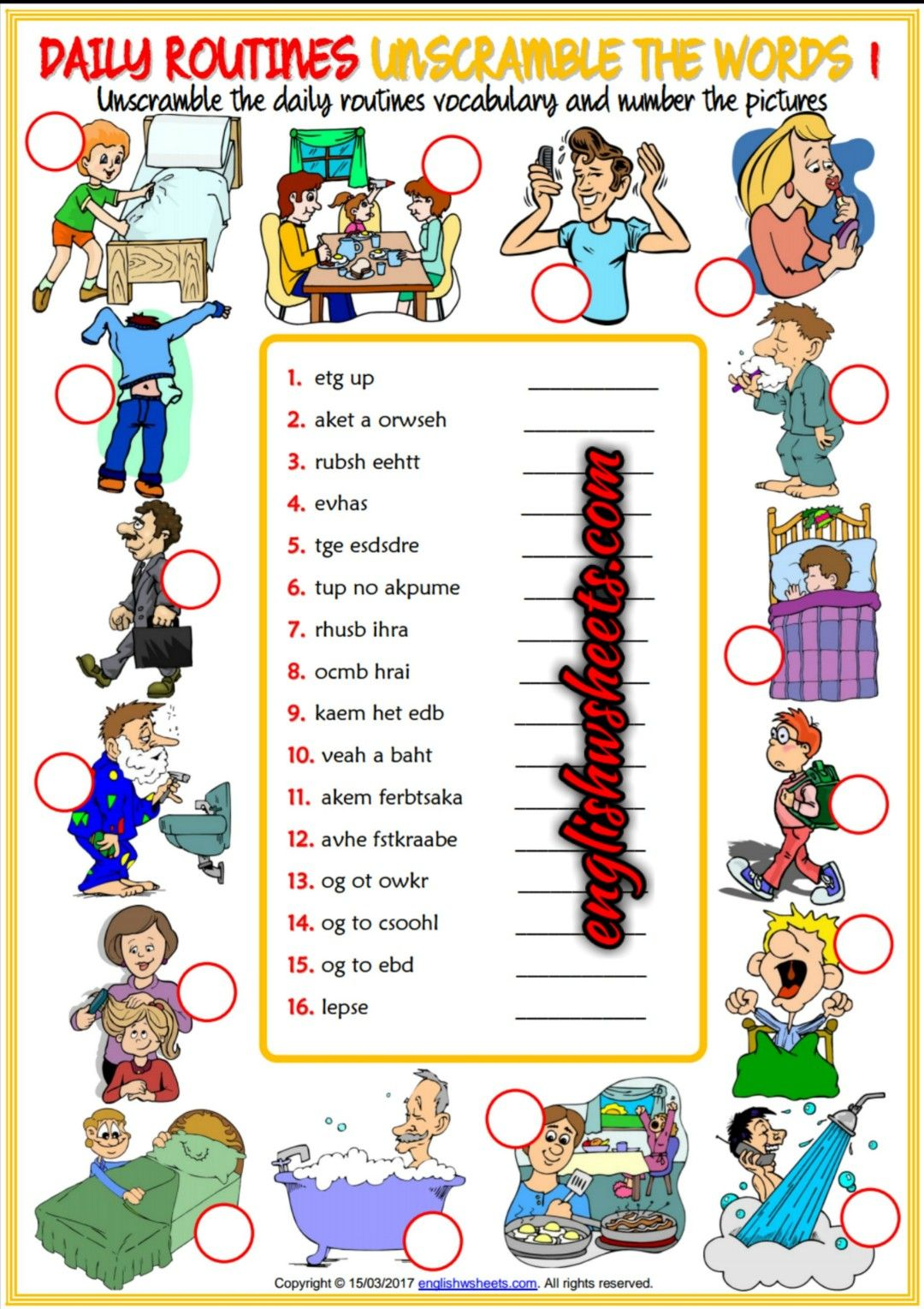 Daily Routines Esl Printable Unscramble The Words