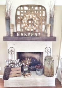Rustic fall fireplace in neutrals. #falldecor ...