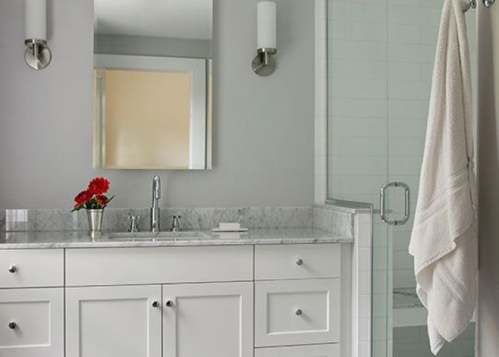 White painted full overlay shaker style custom bath vanity with marble top porcelain grey floor tiles bathroomwhite also