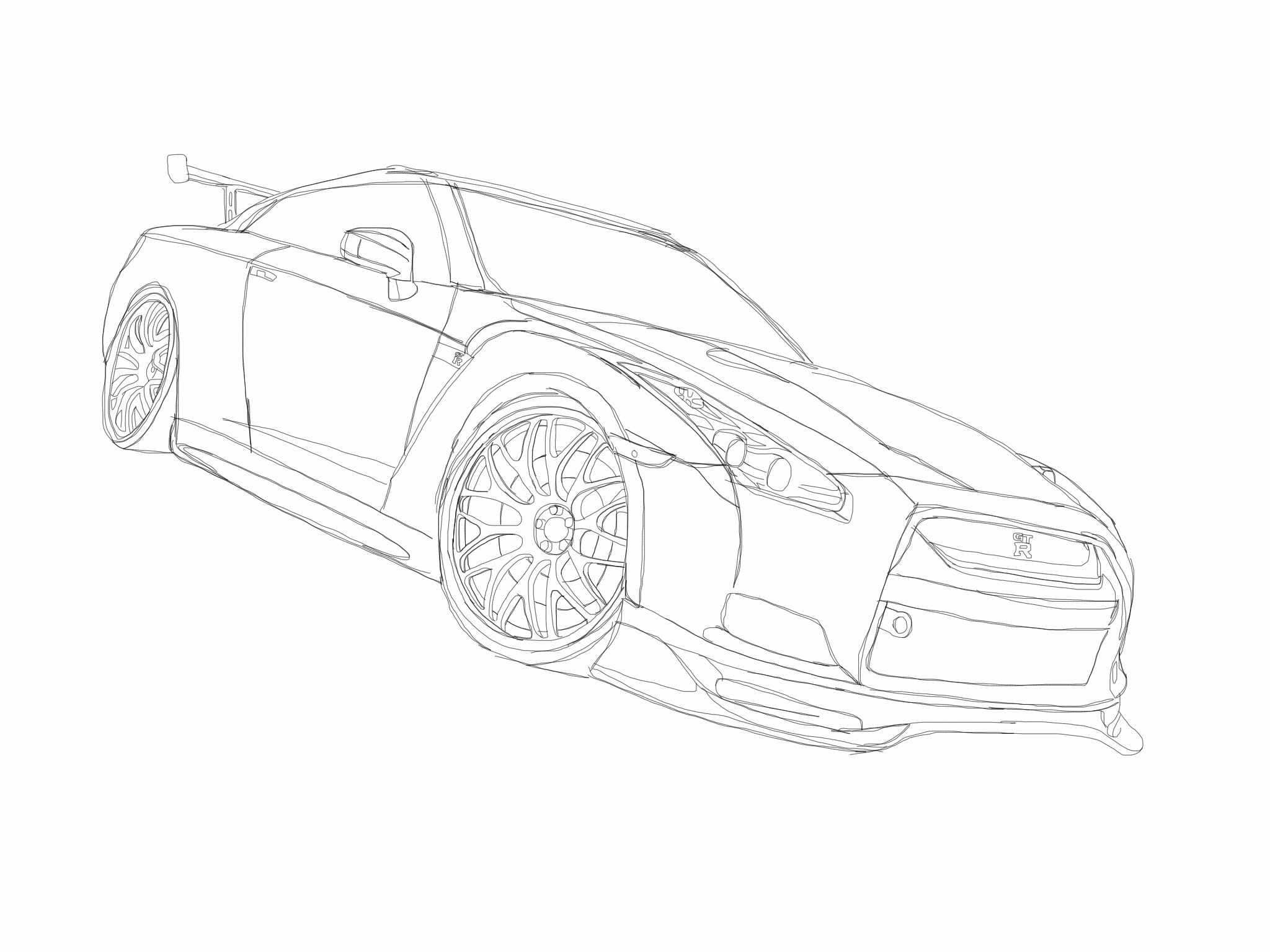 Nissan Gt R Sketch Made On Sketchbook Express For Ipad