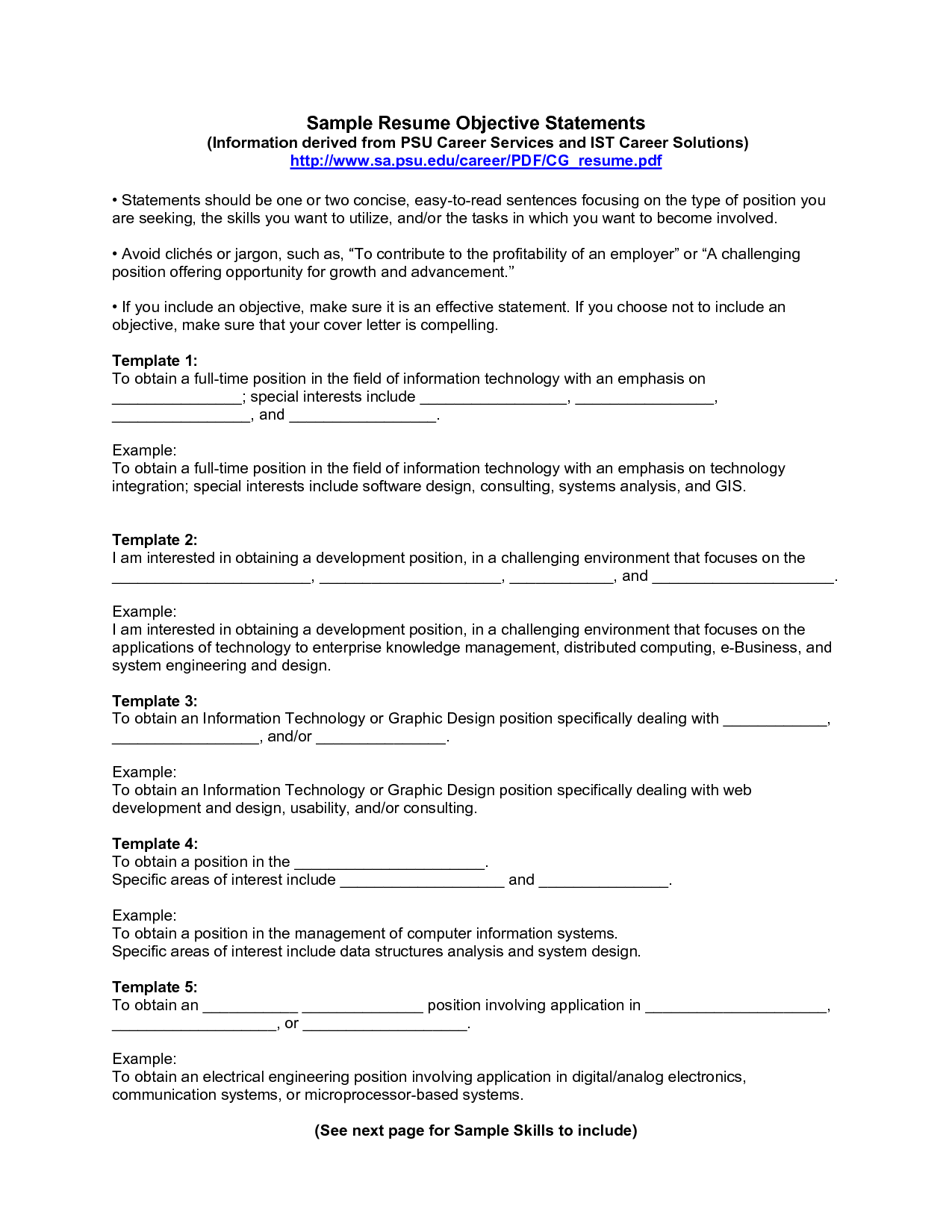 Job Objective Resume Examples