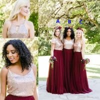 Two Tone Rose Gold Burgundy Country Bridesmaid Dresses ...