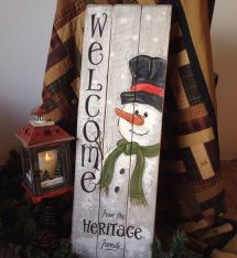 Personalised Hand Painted Snowman Sign Pallet Art