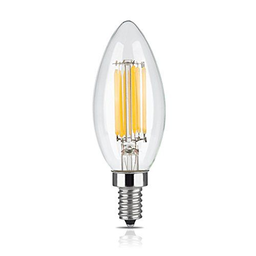Lucero Led Filament Healthy Edison Light Bulb 6w 60w Equivalent C35 Candle E12 Candelabra Base Dimmable