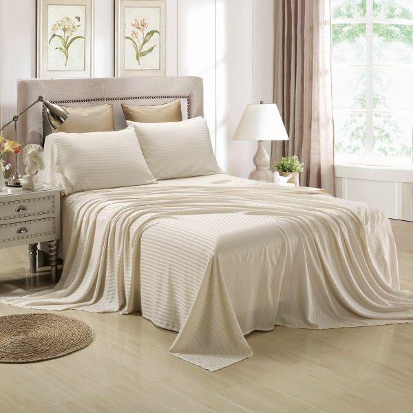 Honeymoon Satin Dobby Striped 4pc Bed Sheet Set - Sage Bedding 29.99 Wedding
