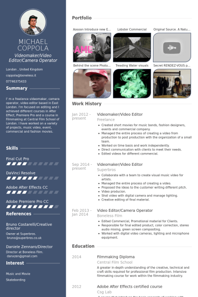 Videomaker Video Editor Resume Example Short Films Pinterest