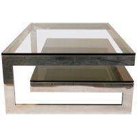 Cantilevered 'G' Mirror Chrome Coffee Table with Smoke ...