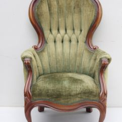 High Back Velvet Chair Best Bean Bag For Kids Vintage With Tufted Sage Green Chenille Upholstery