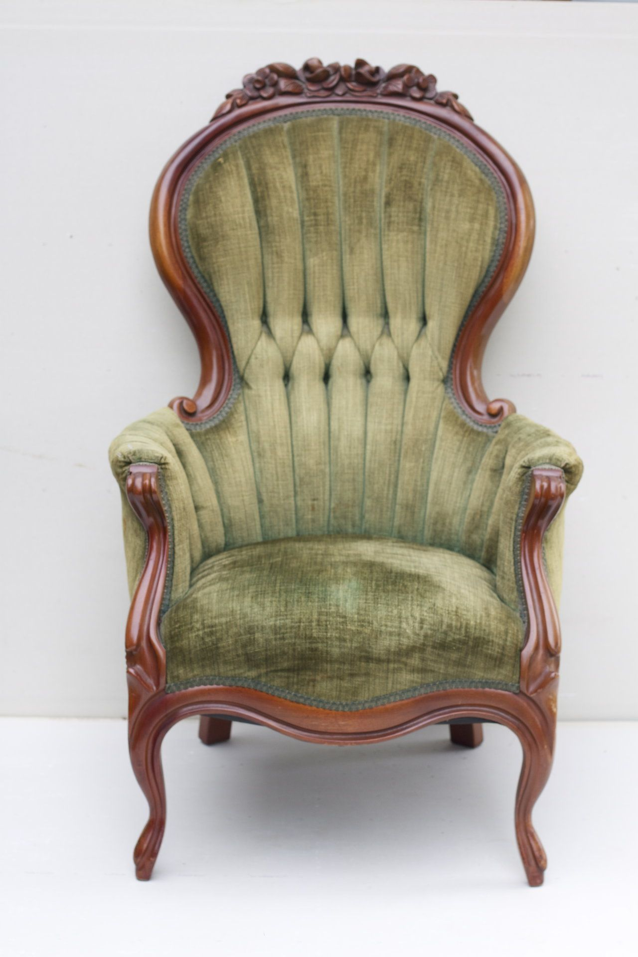 Vintage Chairs Vintage Chair With Tufted Sage Green Chenille Upholstery
