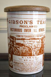 Vintage Advertising Gibsons Teas English Ironstone Lidded