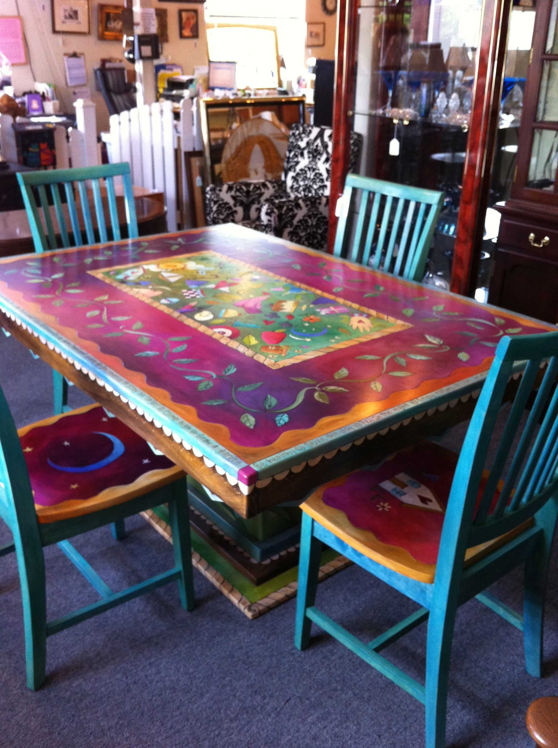 painted kitchen chairs hotels with kitchens in vegas whimsical furniture farmhouse bench