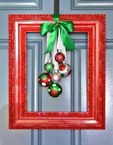 Framed christmas wreath  like this idea not so much bulk and foof on the front door for holidays think  ll save foofy wreaths my porch also love easytoo http media cache ak pinimg originals rh pinterest