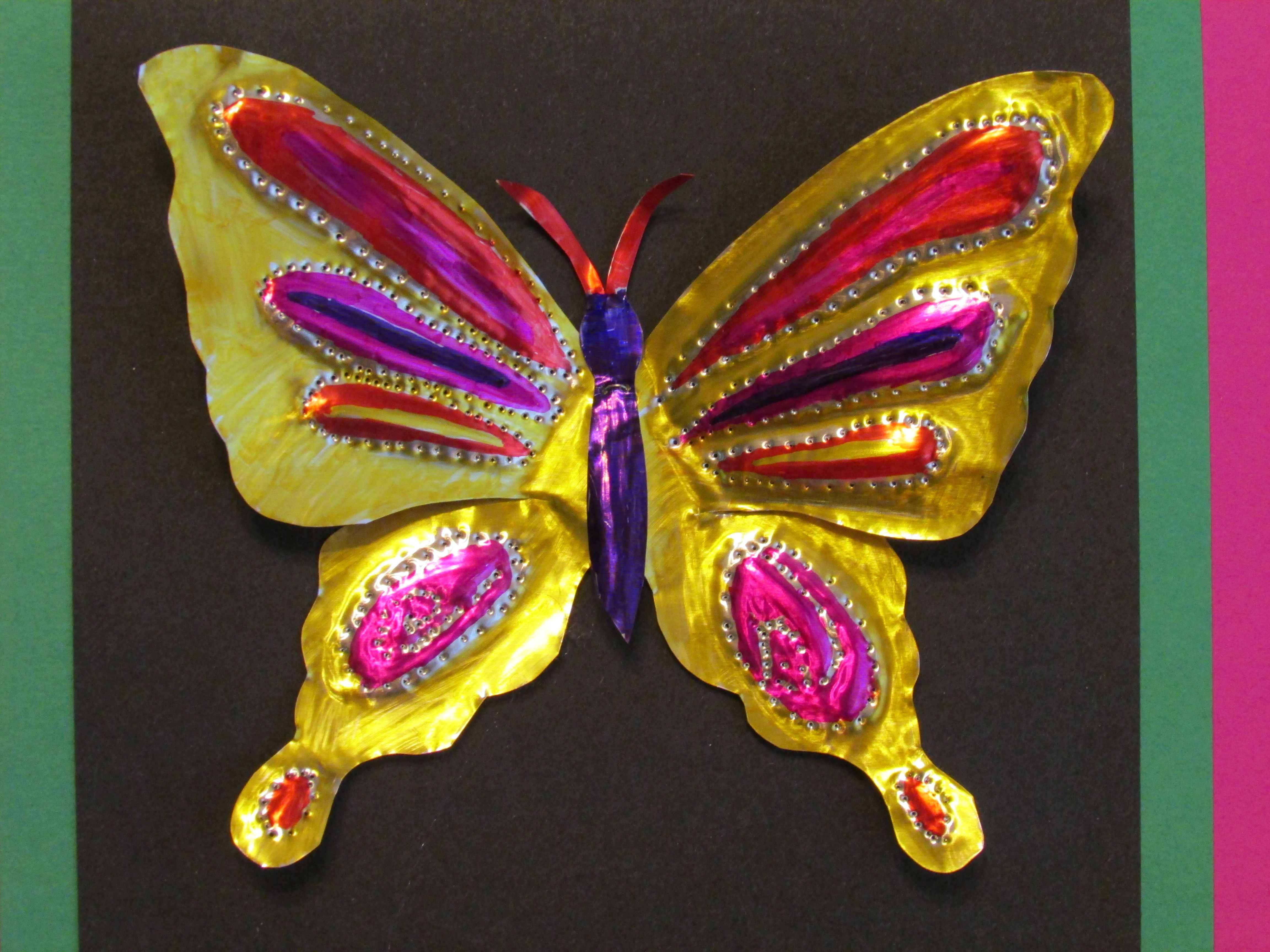 3rd Grade Embossed Butterfly Tin Art 7 Wide Lesson By