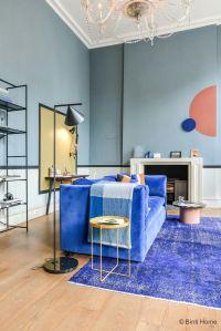 Denim Drift Wall color \ velvet sofa \ side table \ rug ...