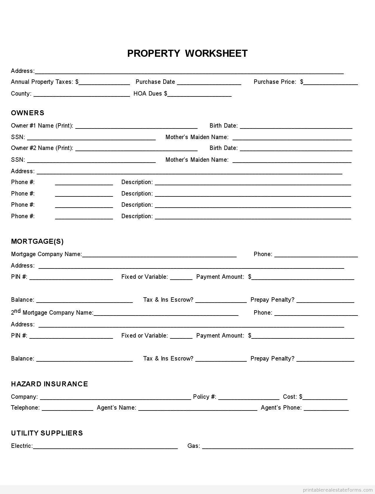 Sample Printable Property Fact Sheet Form