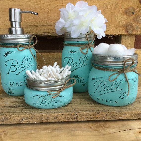 Painted Mason Jars Bathroom Decor Home by