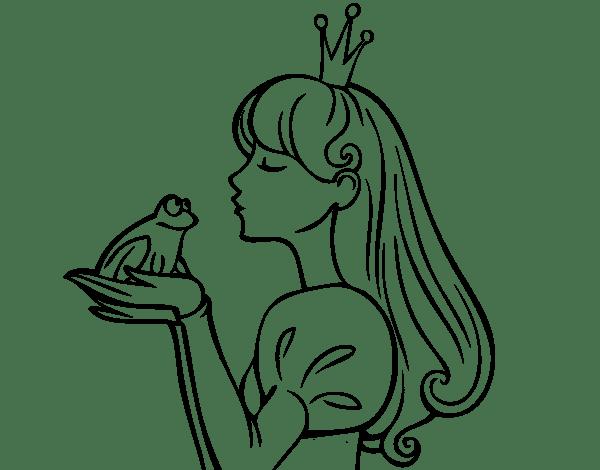 Dibujo De La Princesa Y La Rana Para Colorear  Dibujos De