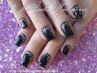 black & glitter nail design | nail designs | Pinterest ...