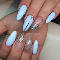 Baby Blue almond nails with glitter, solinsnaglar nails ...