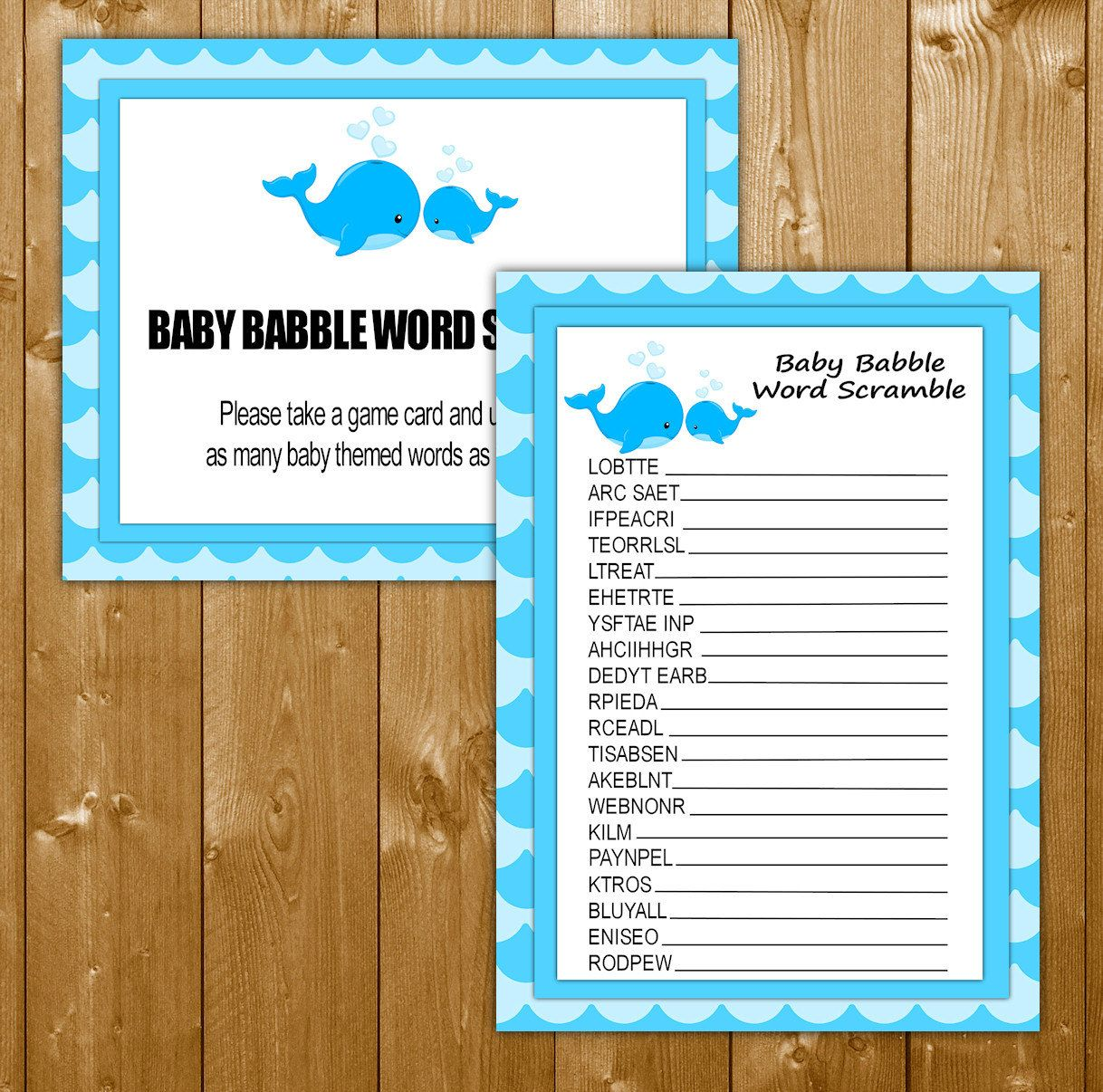 Word Scramble Baby Shower Games Whale Blue Shower Games