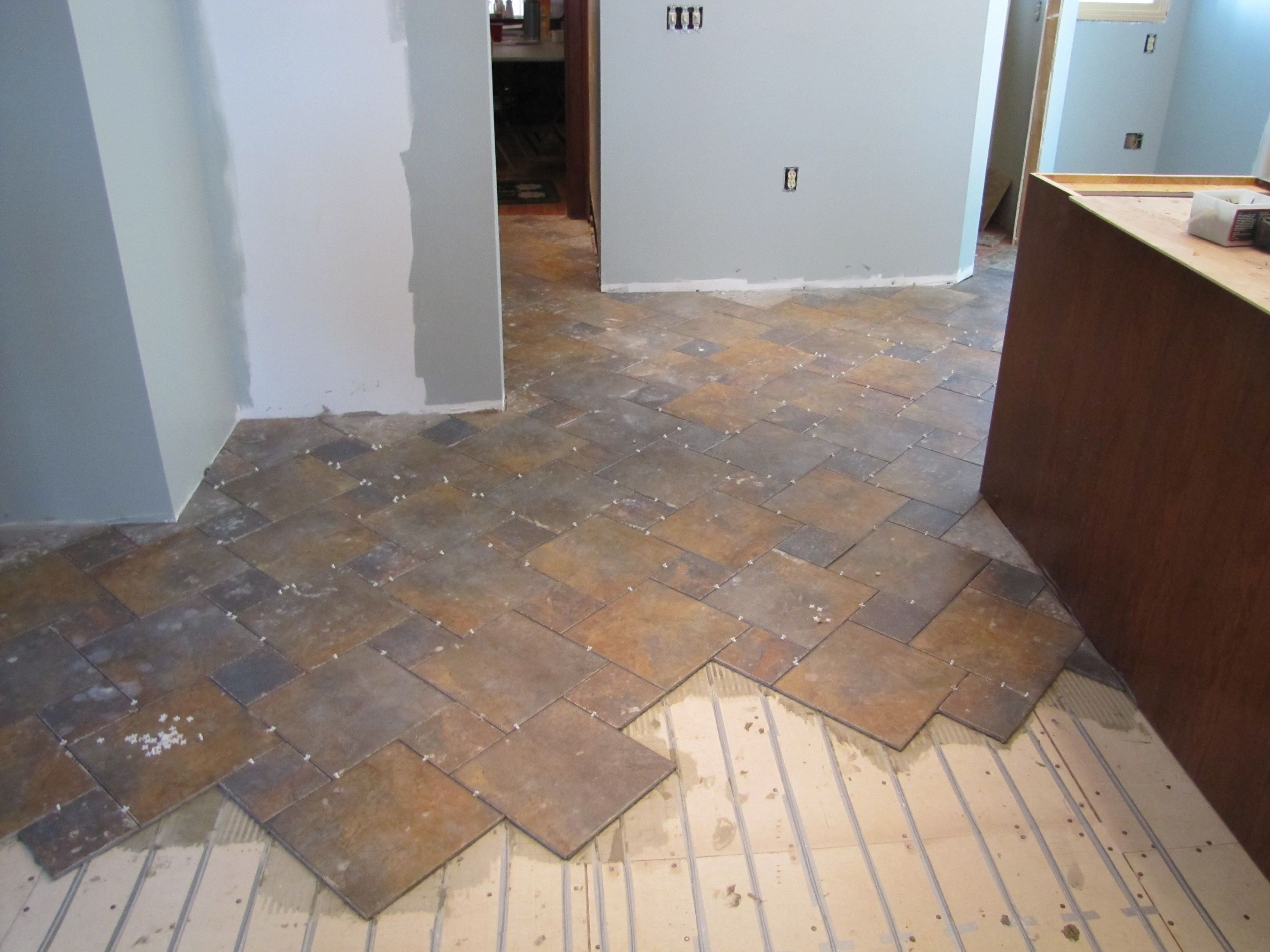 Heated tile floor in kitchen Warmup heating system