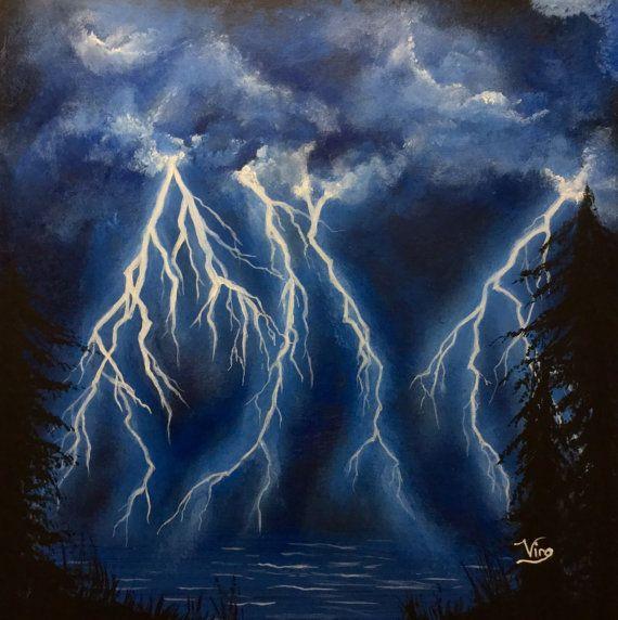 Lightning Painting Storm Sky Original Art Acrylic By