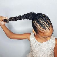 Faux stitch braids ponytail- hairstyles for curly little ...