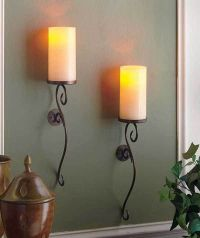 Set of 2 ivory led flameless candle wall sconces living ...