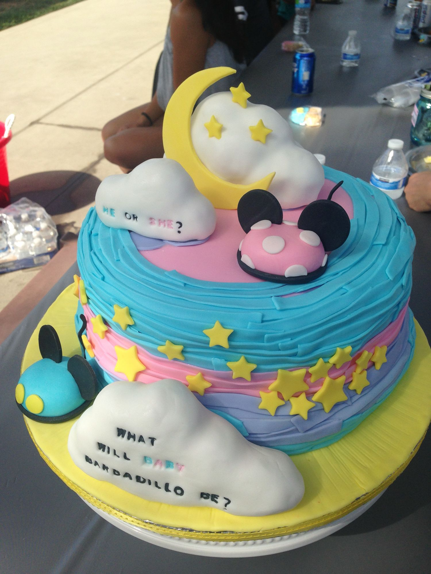 Gender Reveal Cake Minnie Mouse And Mickey Mouse