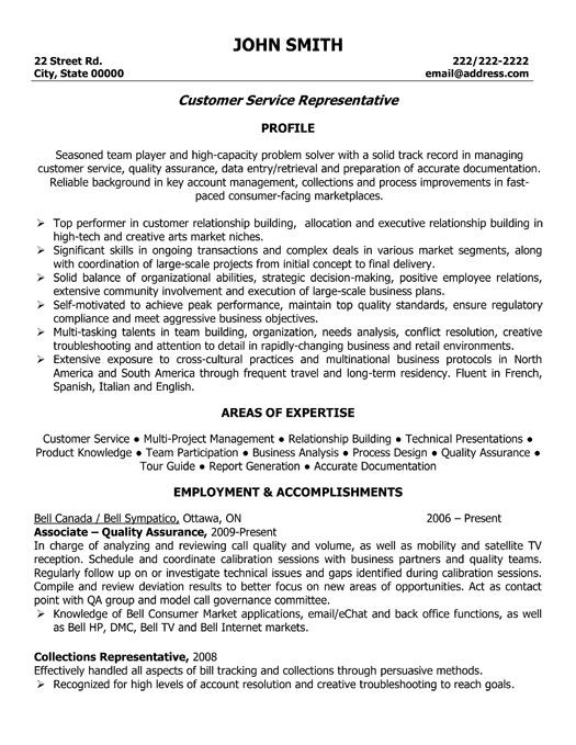 Resume Sample For Customer Service Representative Unforgettable