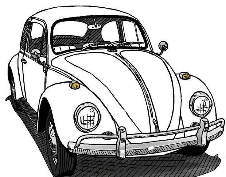 A drawing of a Beetle my bus club gave away a couple years