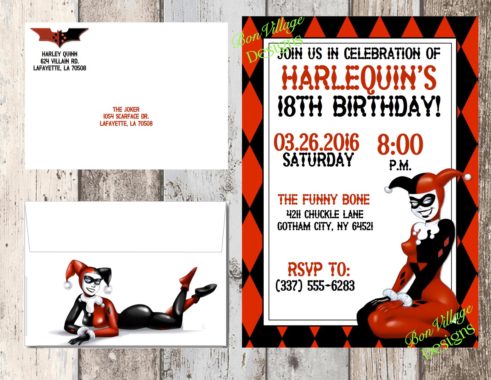 Harley Quinn Free Invitations